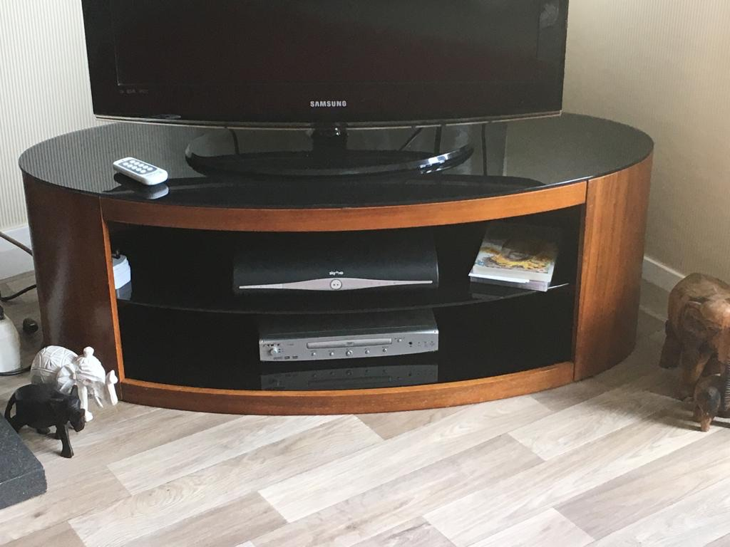 TV unit, chestnut wood and black glass
