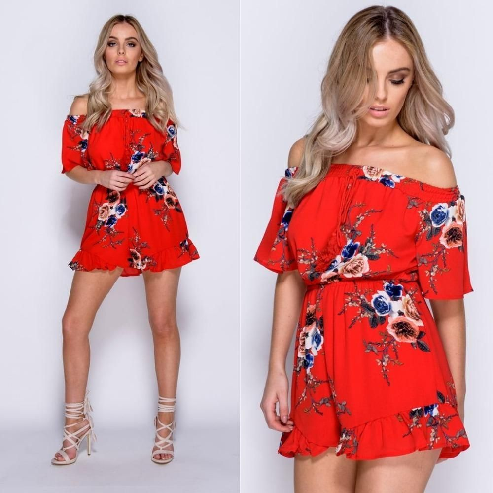Red Floral Print Playsuit