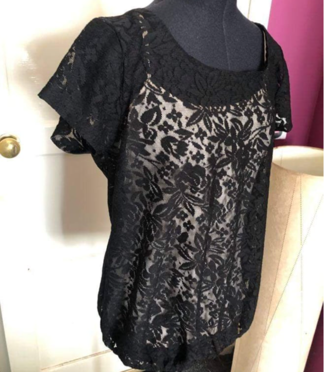 Woman's Dorothy Perkins Black Lace Overlay Top 100% Polyester UK Size 14