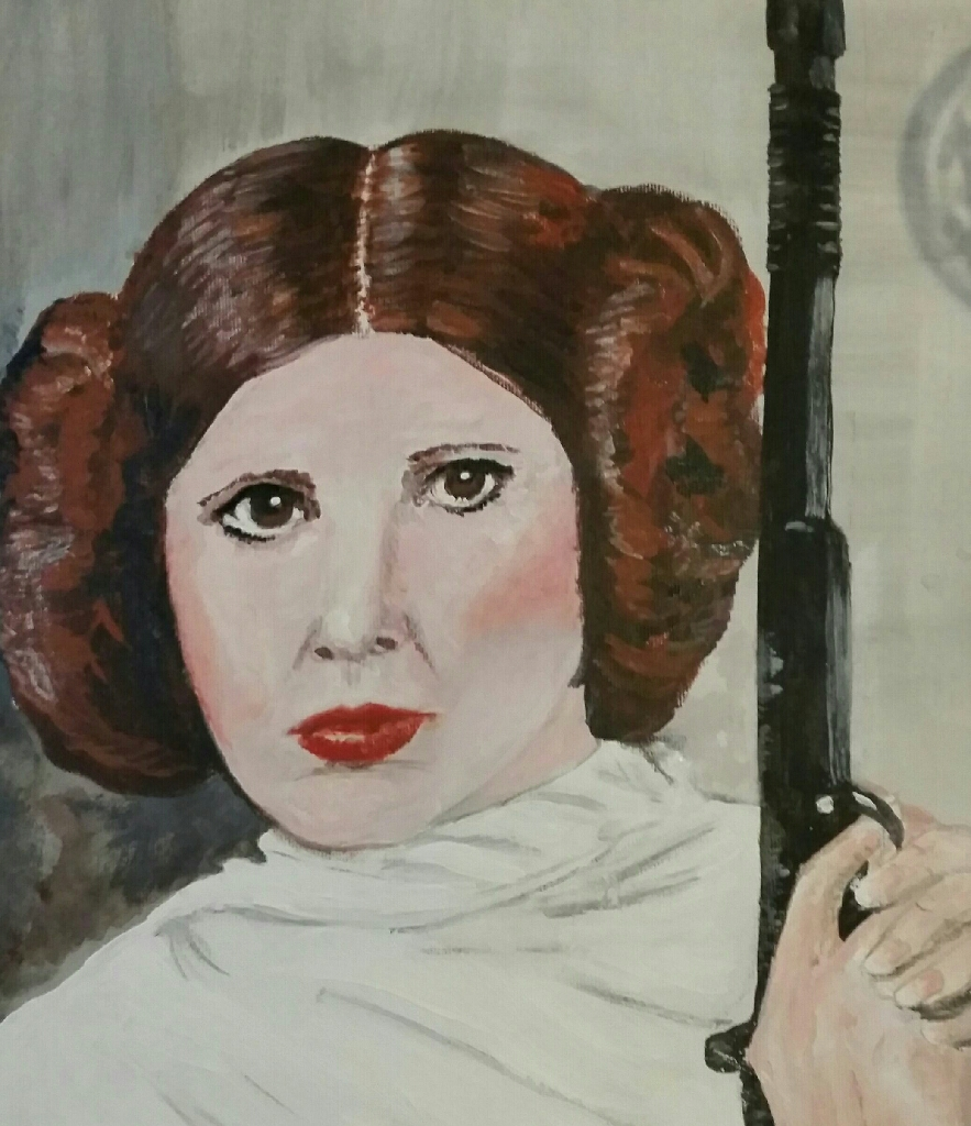 FAN ART! XMAS GIFT! ORIGINAL PAINTING -STAR WARS PRINCESS LEIA
