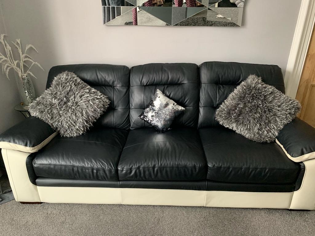 Sofa leather black and cream