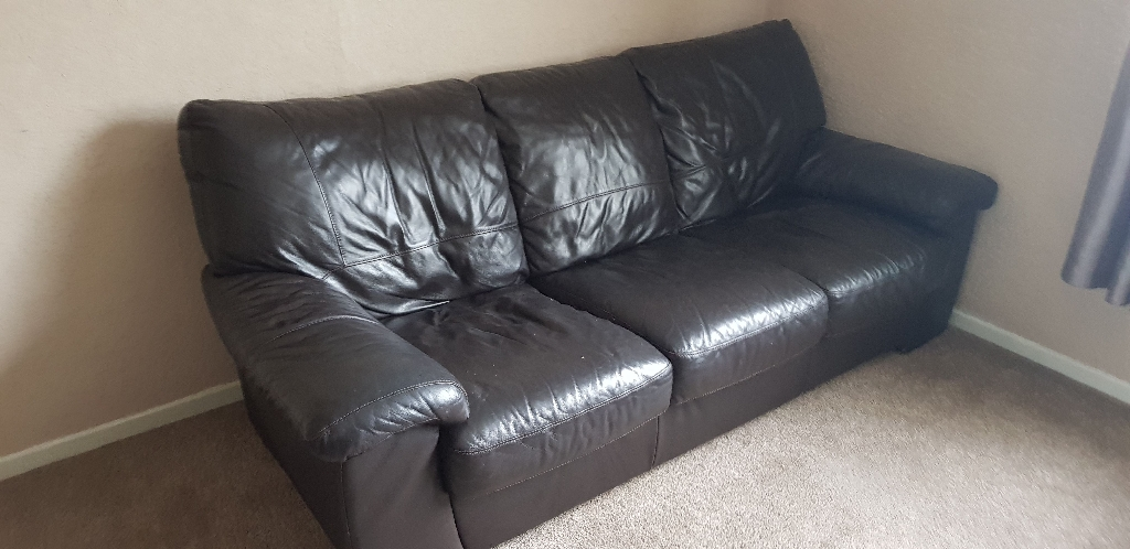 3 & 2 seater brown leather look sofas