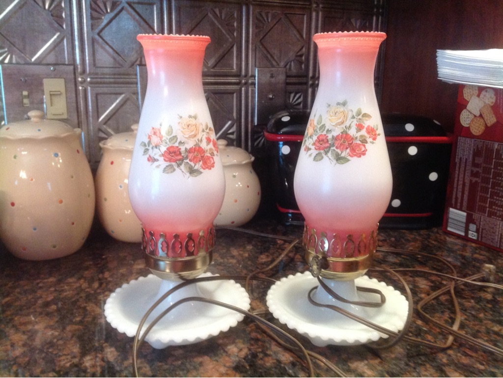 PAIR MILK GLASS LAMPS