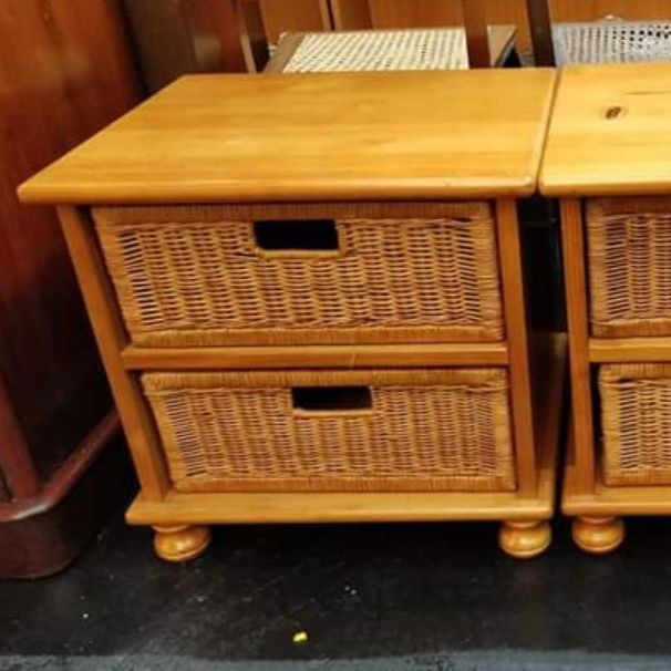 2x wood and wicker storage draws/bedside cabinets