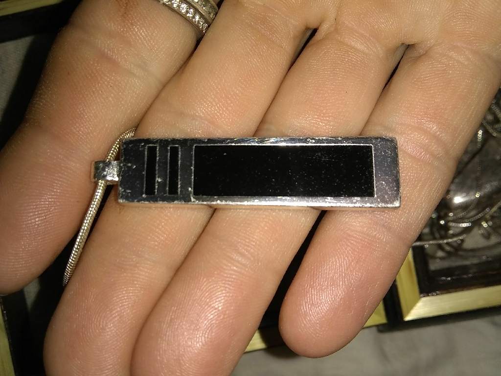 Necklace long silver/ black pendant