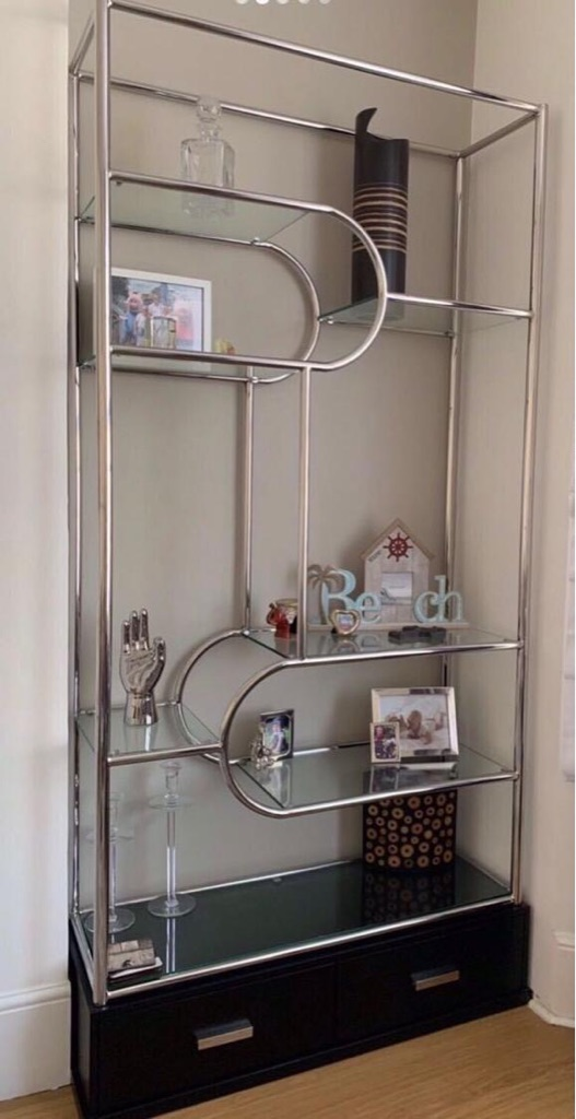 Cabinet with glass shelves and drawers