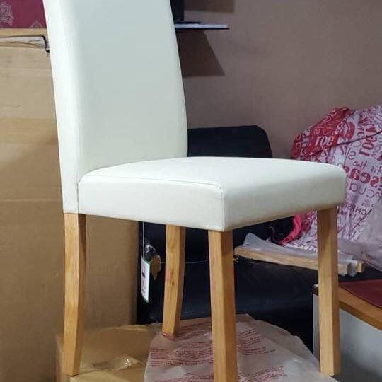 New 6 leather cream chairs £240