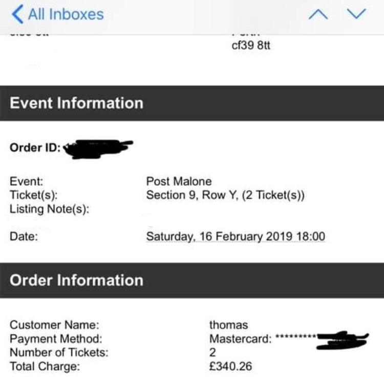 2 Post Malone tickets - 3arena