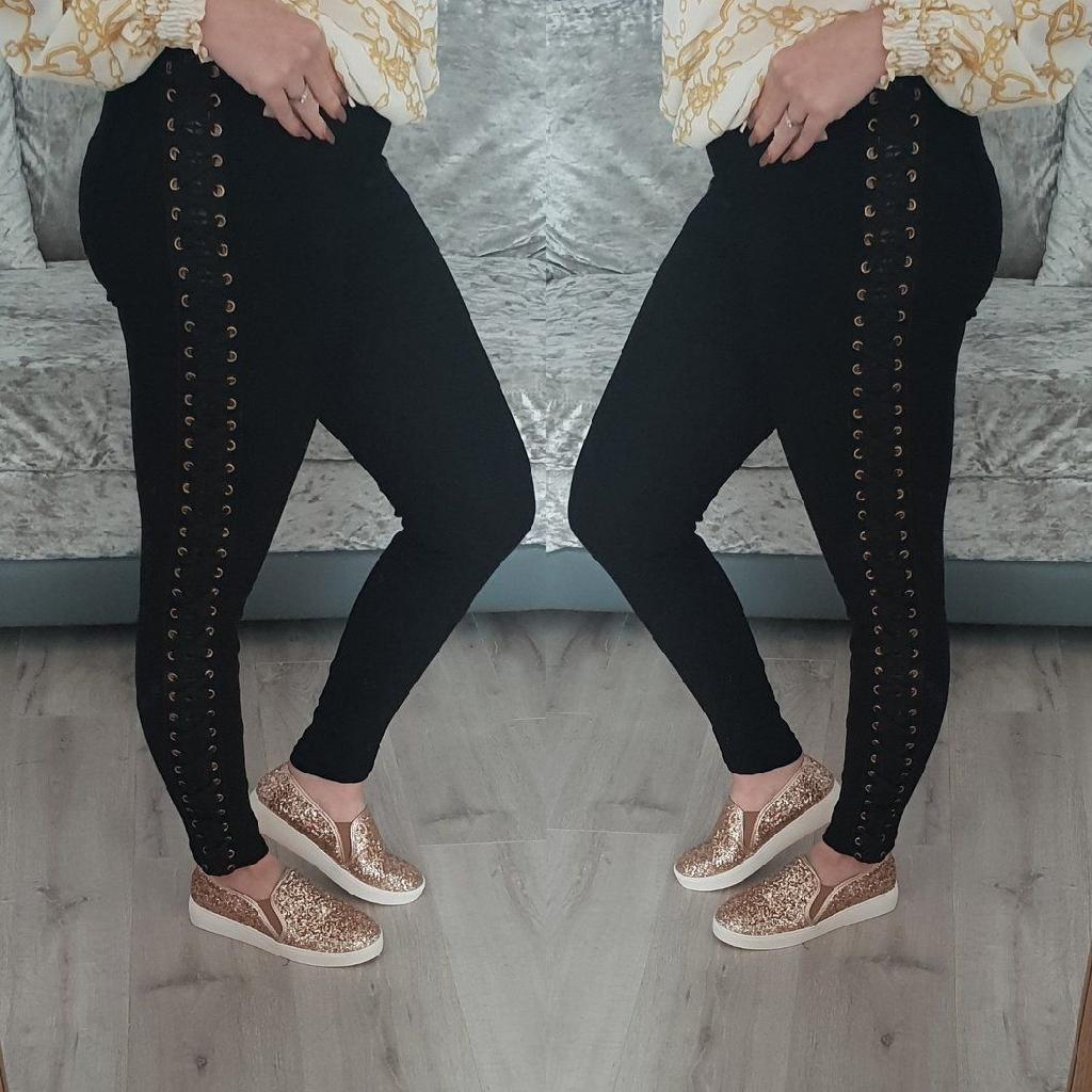 Lace up black jeans