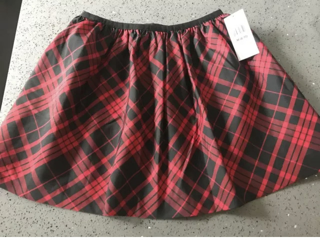 RALPH LAUREN Satiny Black & Red Taffeta Lined Skirt M (8-10) NWT $49.50