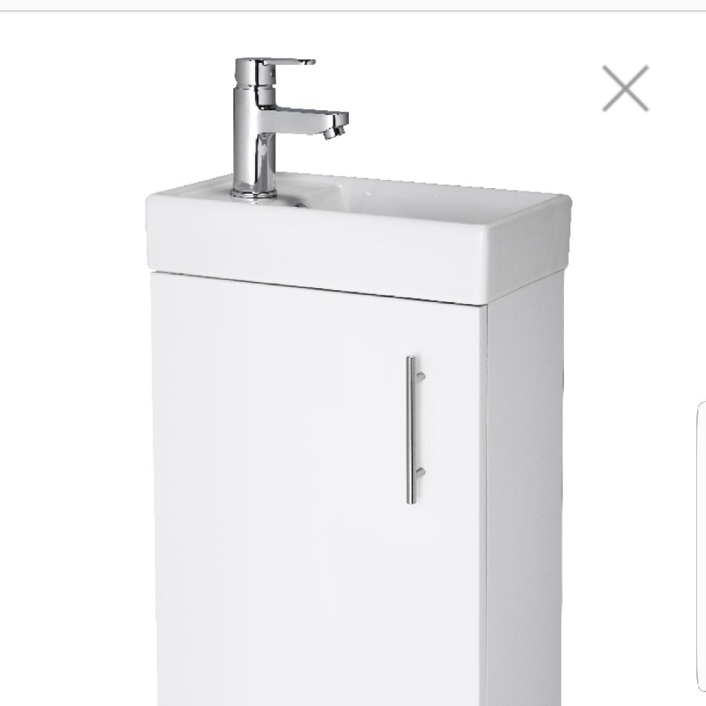 400mm floor standing minimalist compact inc basin and taps