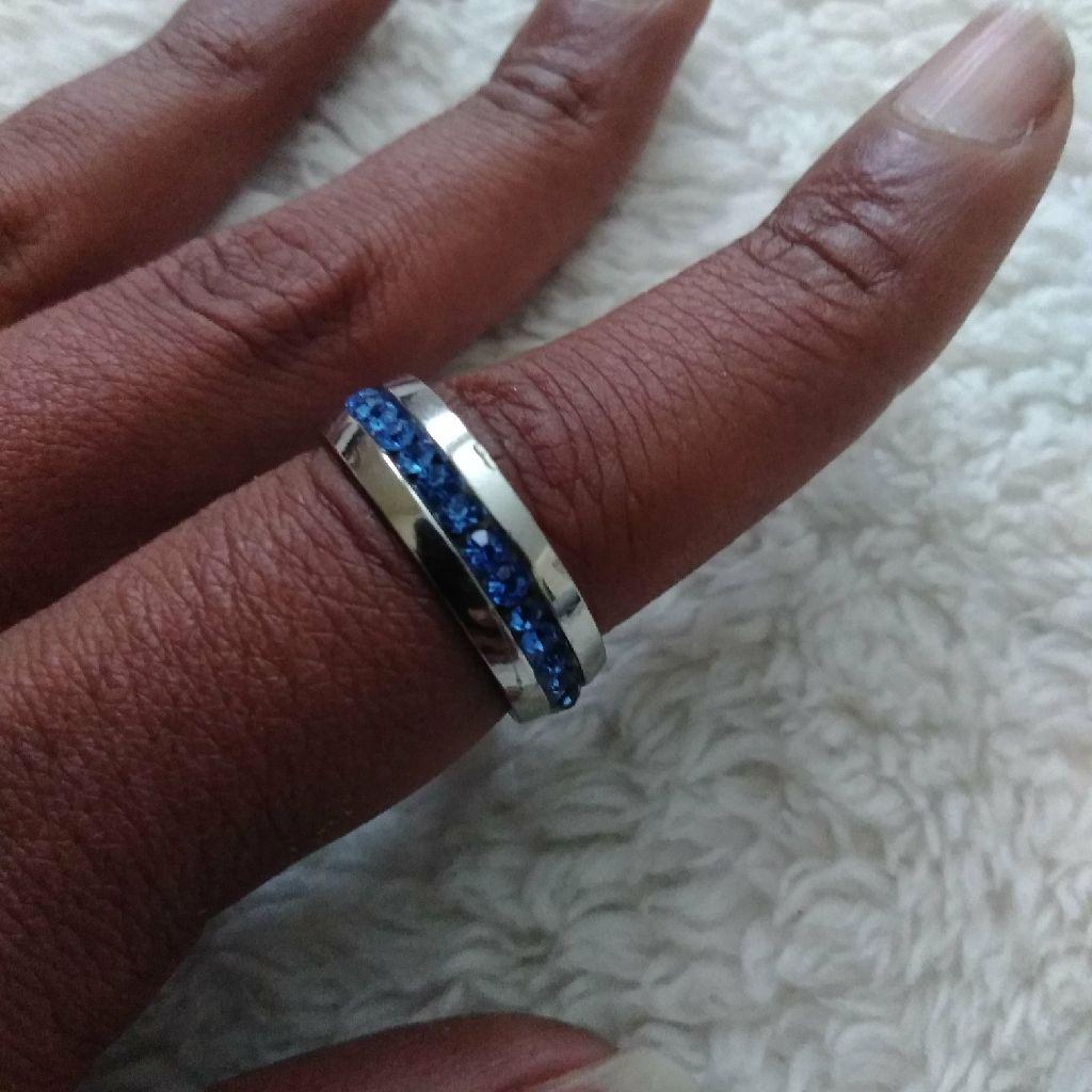 Aquamarine Stainless Steel Ring