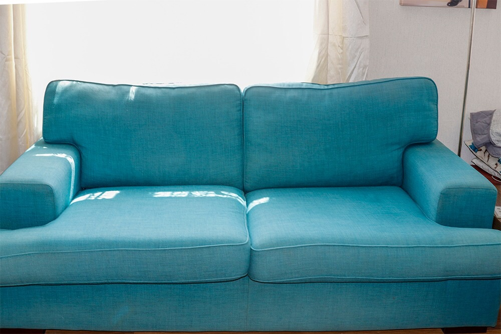 Dfs sofa & chair in teal