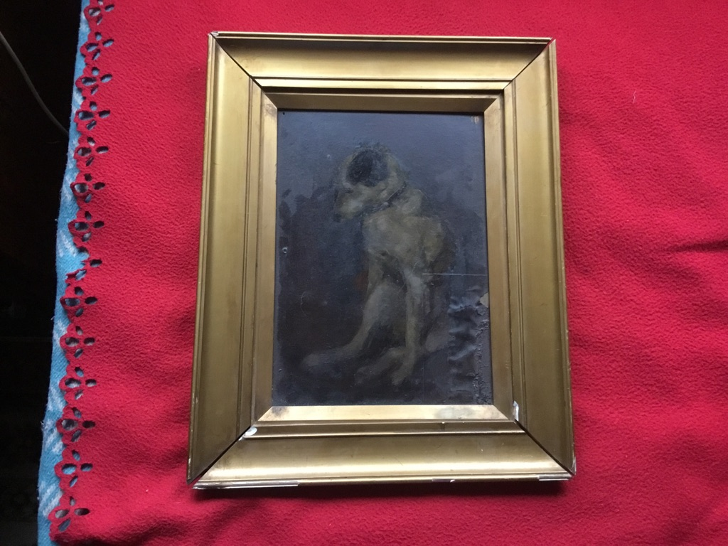 Stvdy master pinch dog oil on board jessy Ferber 13in 16in c1910