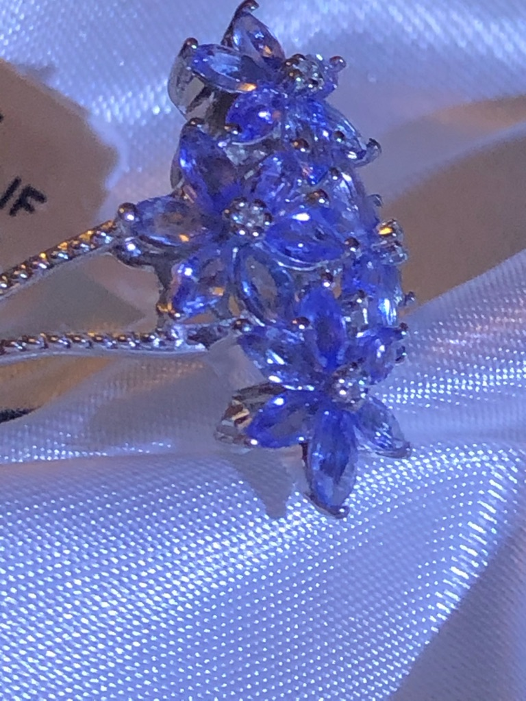 Womans Tanzanite Flower  Natural Cambodian Zircon Ring Size P Sterling Silver 925 new