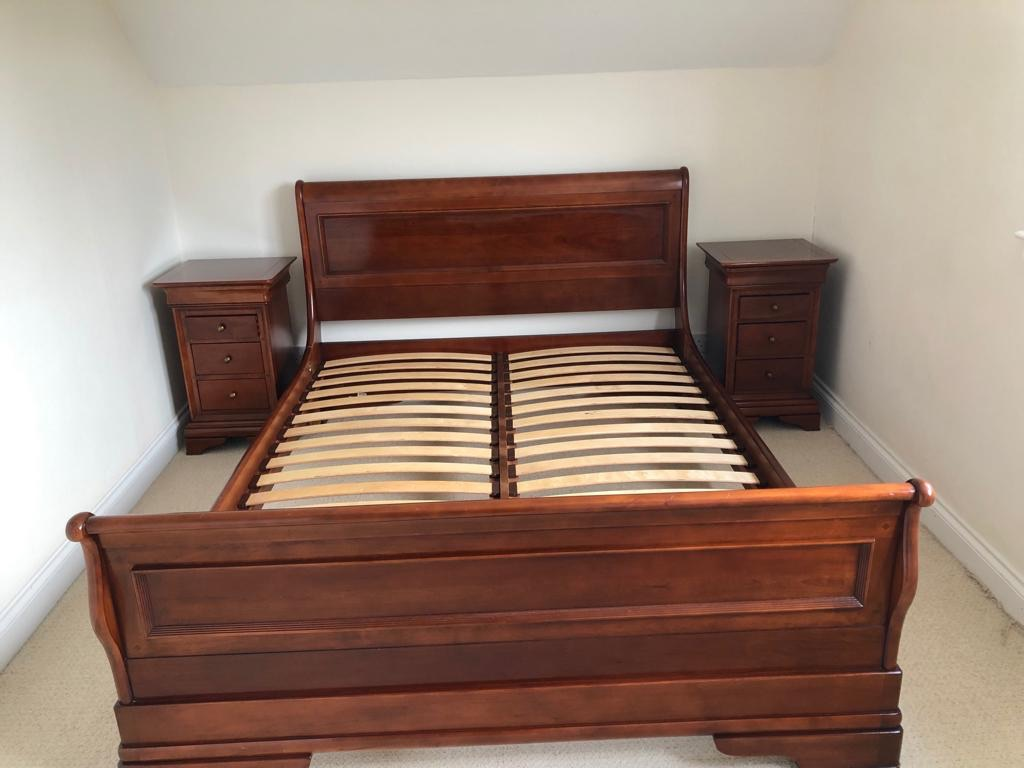 King size bed frame, side tables and chest of draws