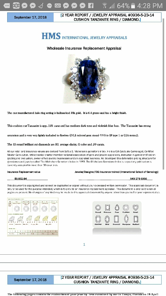 AAAA tanzanite and diamond ine of a kind heirloom piece