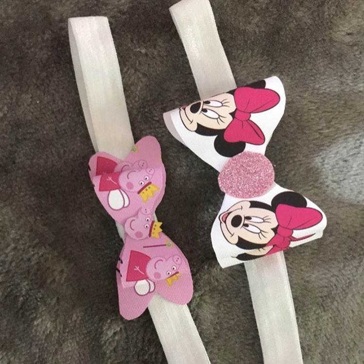 Peppa pig and Minnie Mouse headband bows