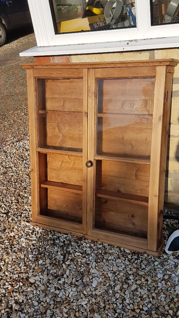 Antique pine display cabinet