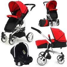 petite star travel system pram pushchair stroller buggy car seat red unisex 3in1