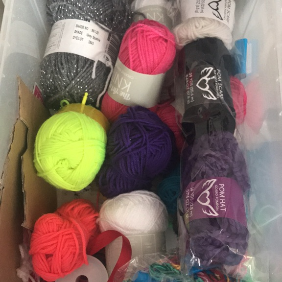 Box of Knitting Wool and String