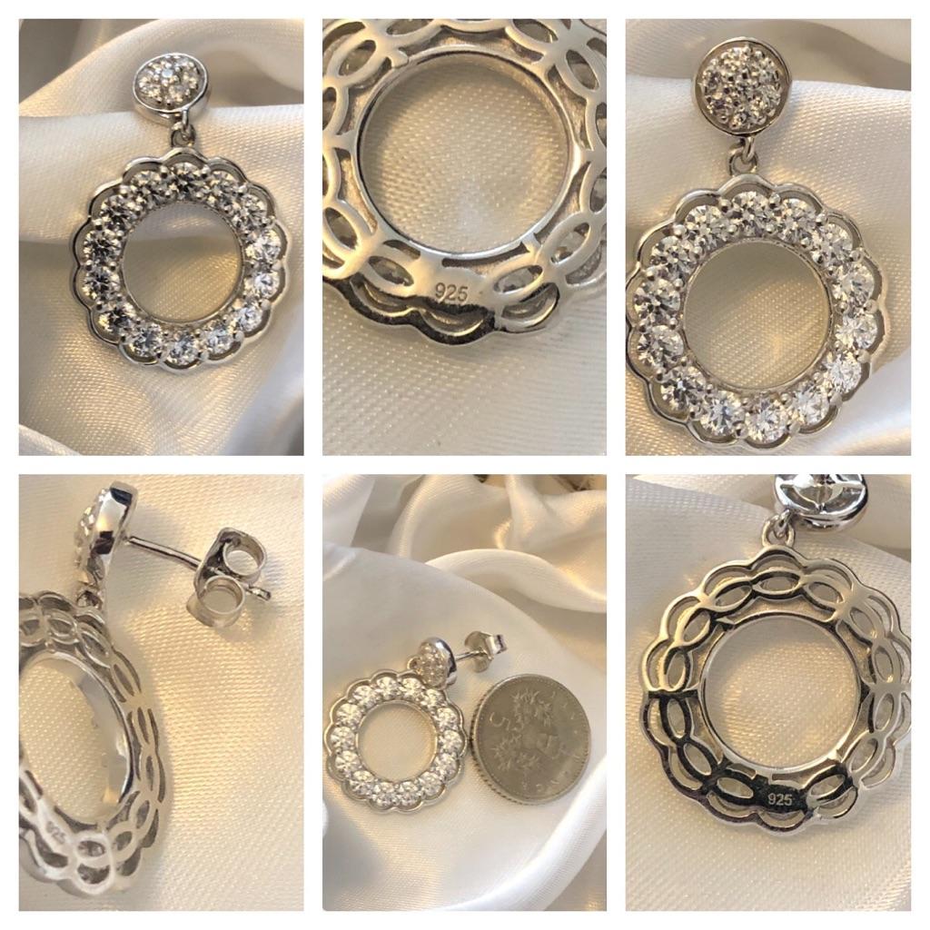 Woman Swarovski Crystal drop earrings sterling silver 925 brand new