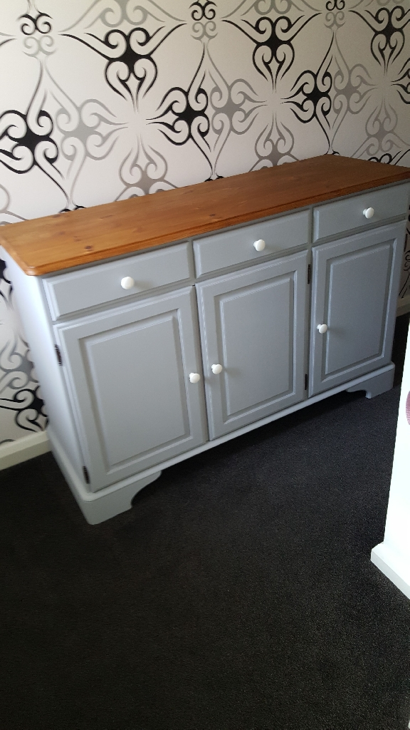 Upcycled Pine Ercol sideboard painted in Ronseals Dove Grey.