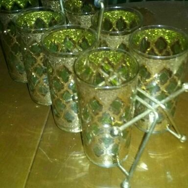 Culver High Ball Glasses with Caddie