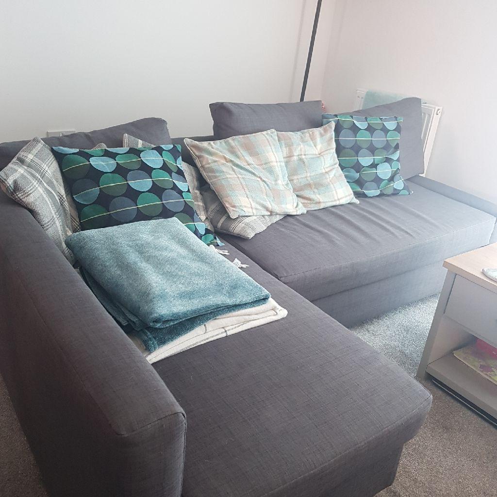 Grey ikea corner sofa and sofa bed