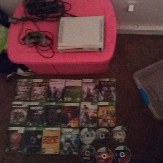 Xbox 360 wired controller all cords and alot of games