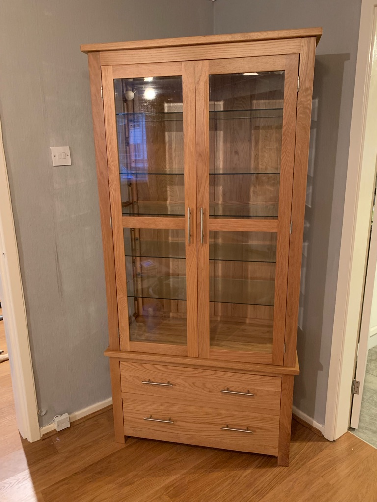 Oak glass wooden cabinet