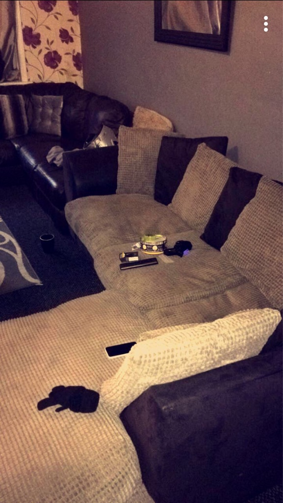 Light brown and black 4 seater corner sofa , £80 collection ls9