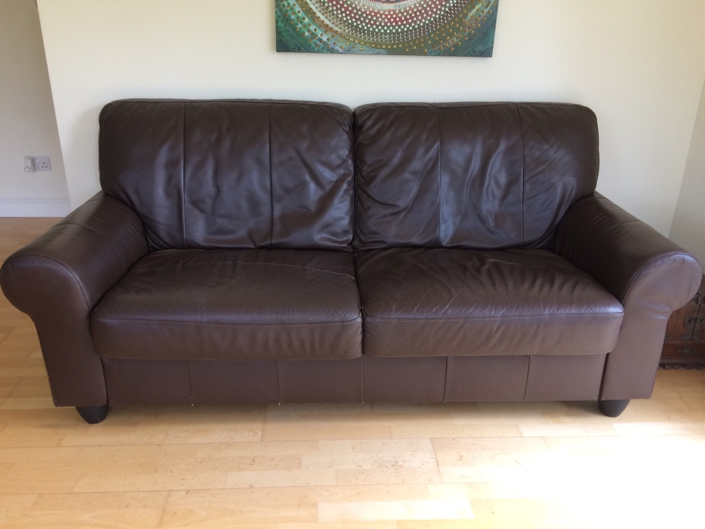 Large brown leather 2 seater sofa