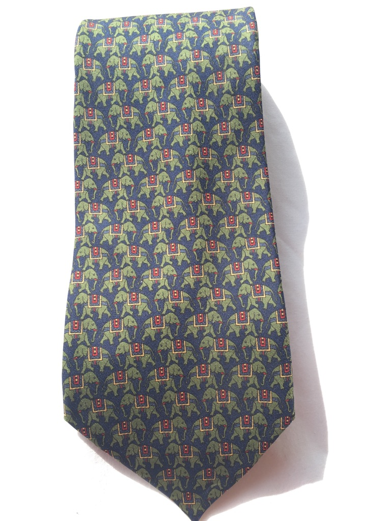 Silk tie (navy blue with green elephants)