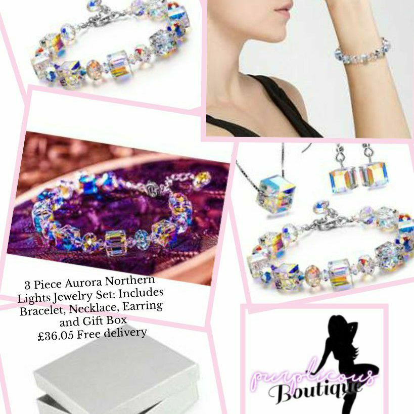 3 Piece Aurora Northern Lights Jewelry Set: Includes Bracelet, Necklace, Earring and Gift Box