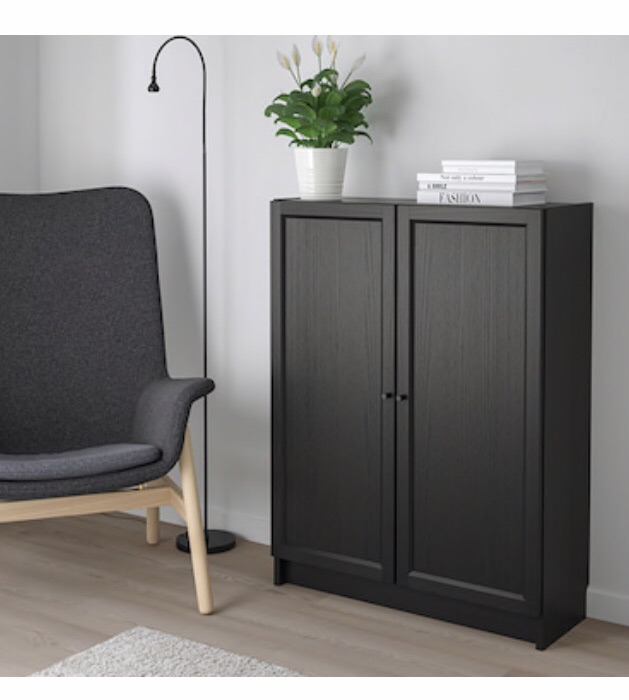 Ikea Billy bookcases with double doors and shelves. Black/Brown. Suits home or office.