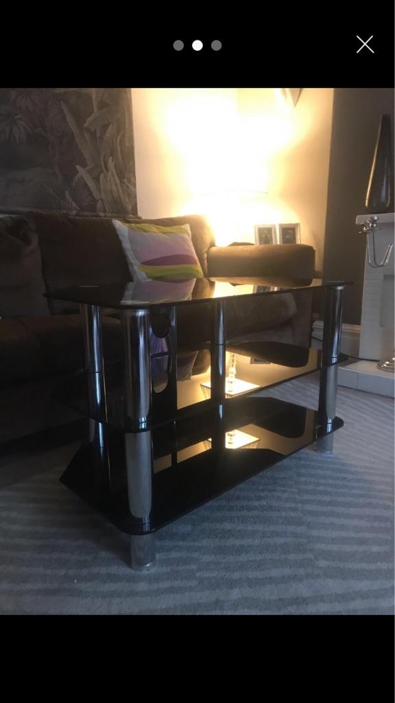 Chrome & Black TV Stand