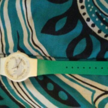 Blue white green watch