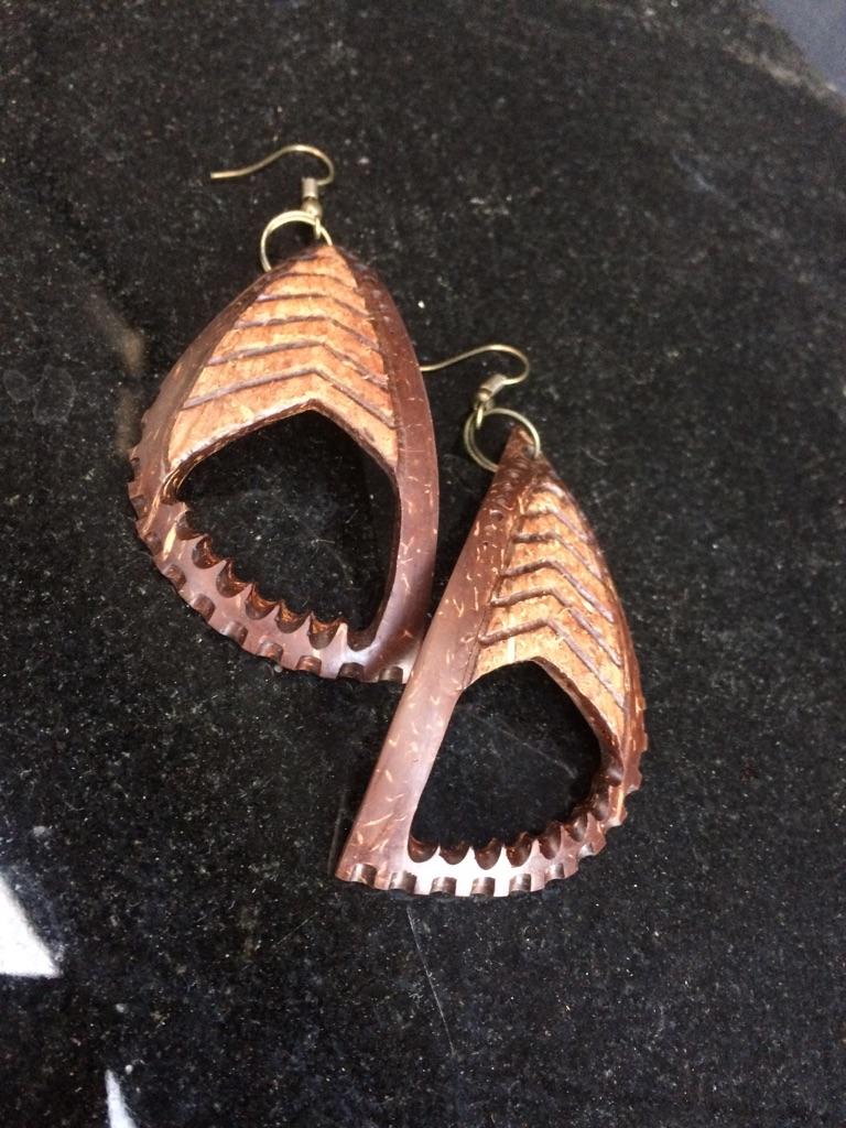 Handmade coconut earrings
