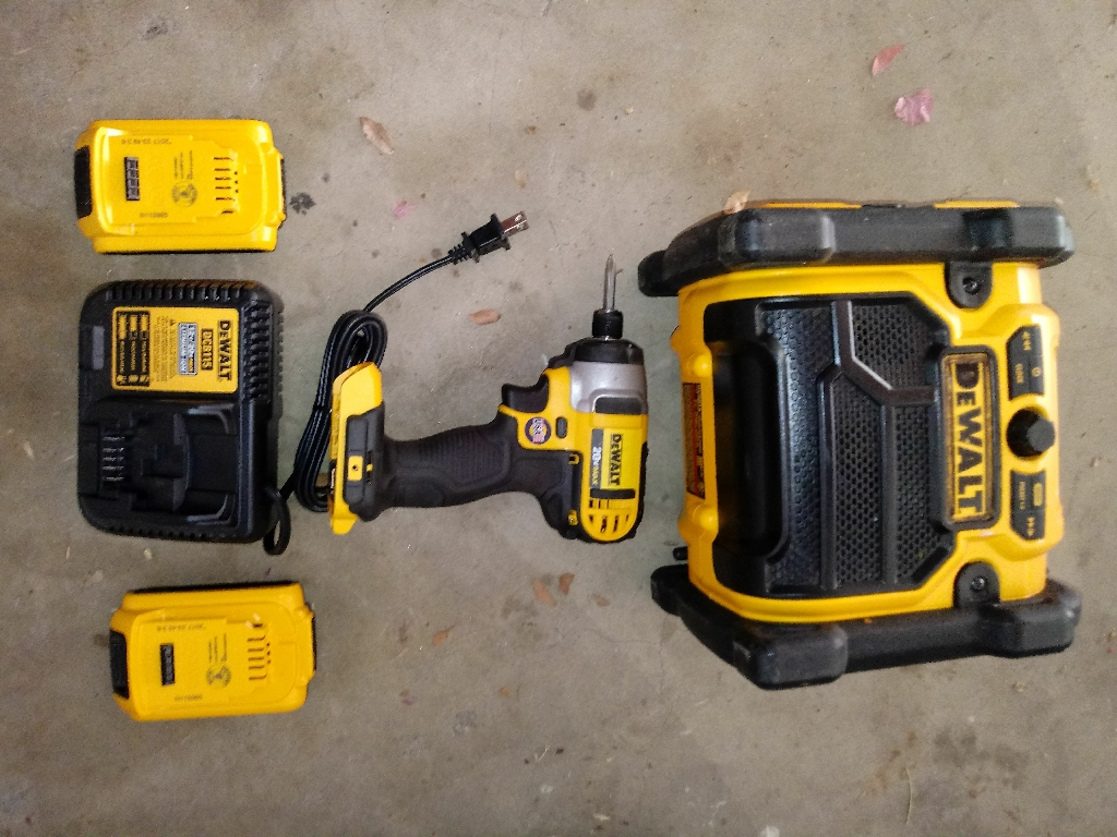 Dewalt charger 2. 20v batterys. Shop radio