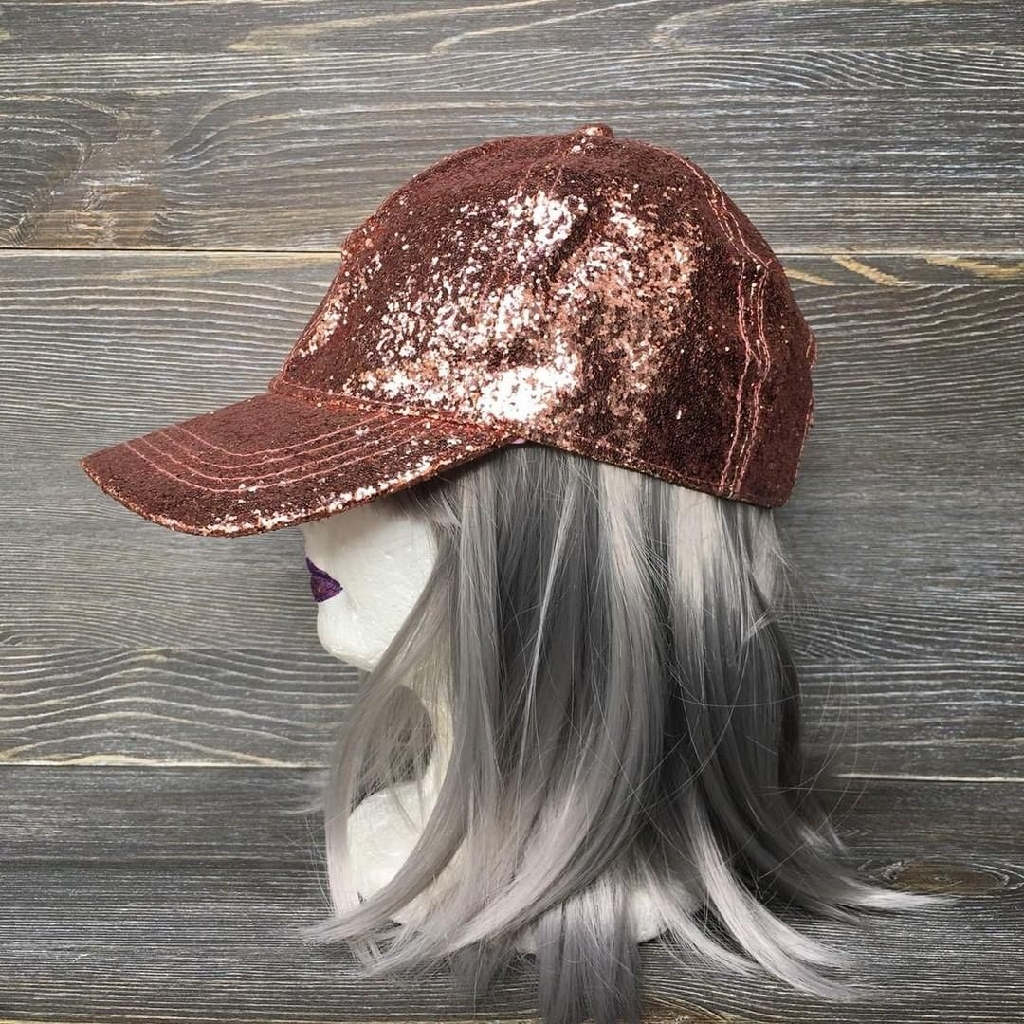 Rose gold glitter adjustable hat