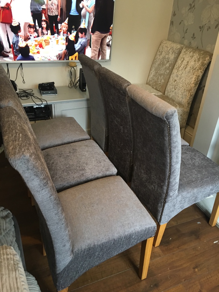 6 newly upholstered steel grey chairs perfect condition