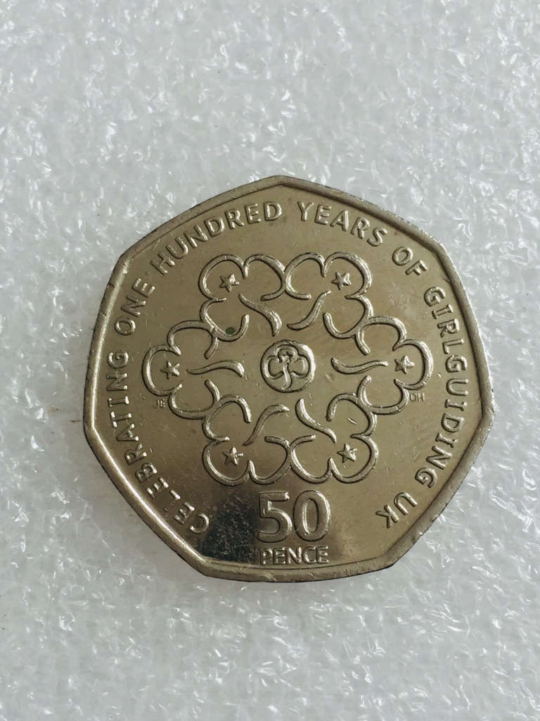 50p coin celebrating 100 years of girl guiding