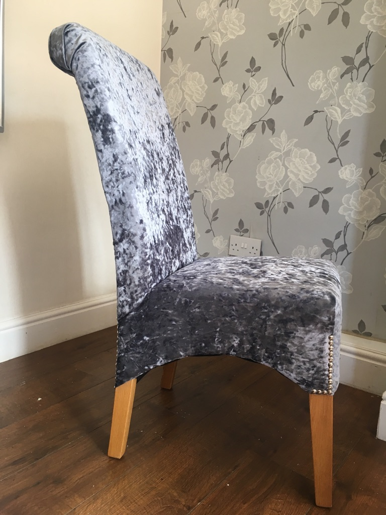 6 slate grey crushed velvet scrollback chairs