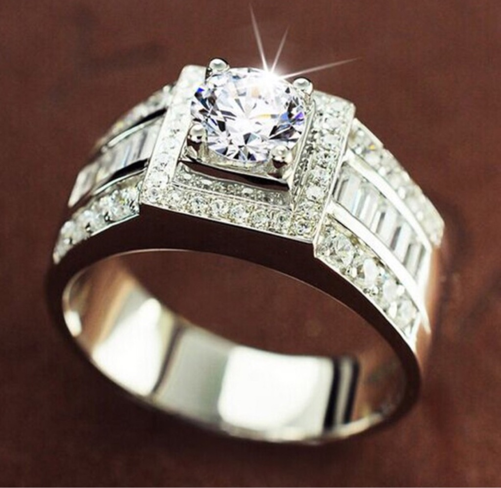 925 Sterling Silver stamp cz diamond ring size 5-10