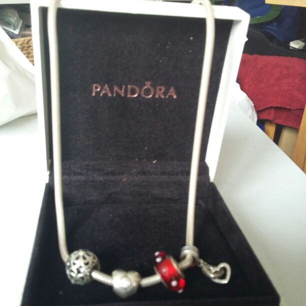 Pandora snake chain with 4 charms