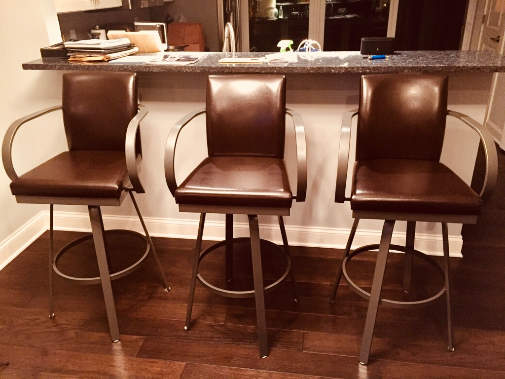 Three Bar Height 100% Genuine Leather  Chocolate Brown Bar Stools