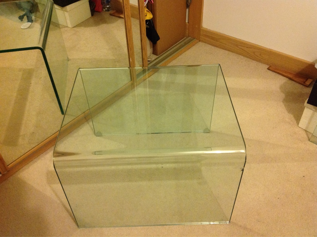 Glass bedside/ coffee table