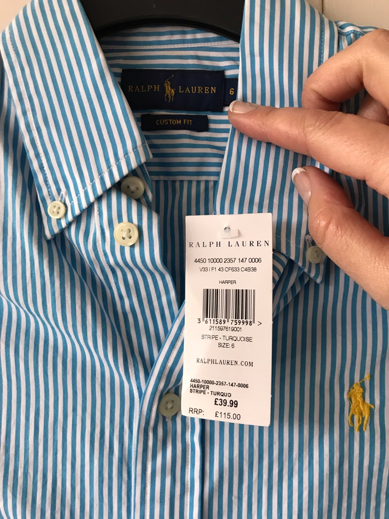 New with tags Ladies Ralph Lauren top, light blue pin stripe.