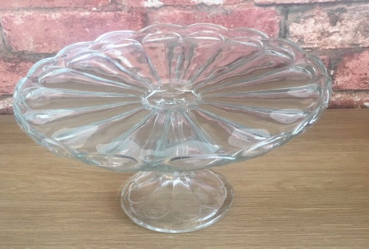 Vintage glass cake stands L £25 each both for £40